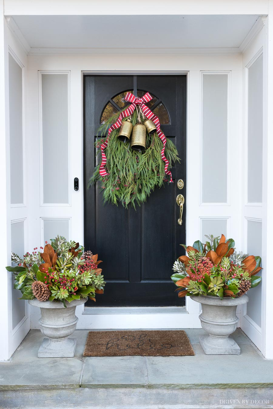 Our Christmas door swag and holiday planters - full tutorial included in post!
