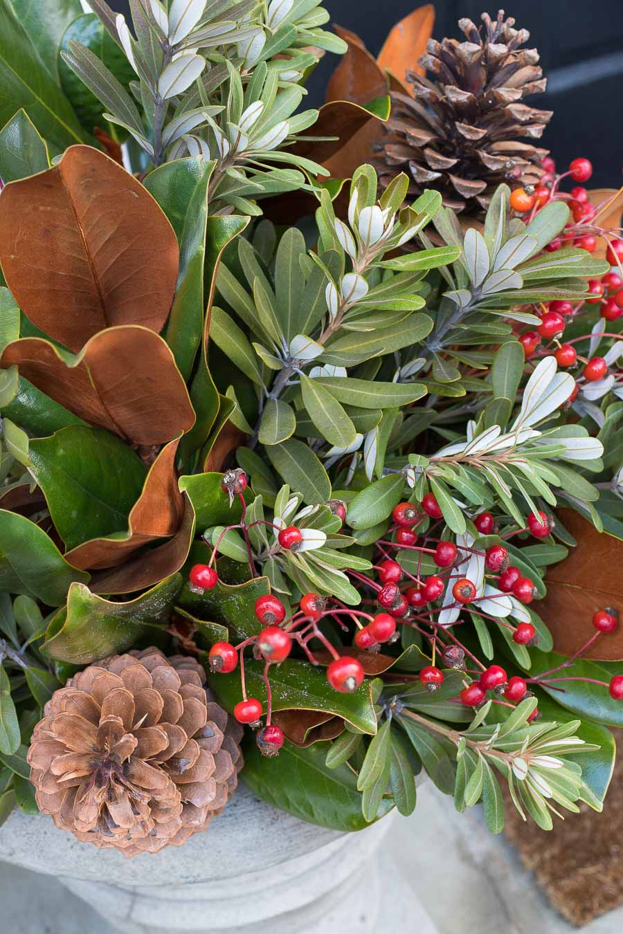 Love the mix of magnolia branches, greenery, rose hips, and pinecones in these holiday planters!