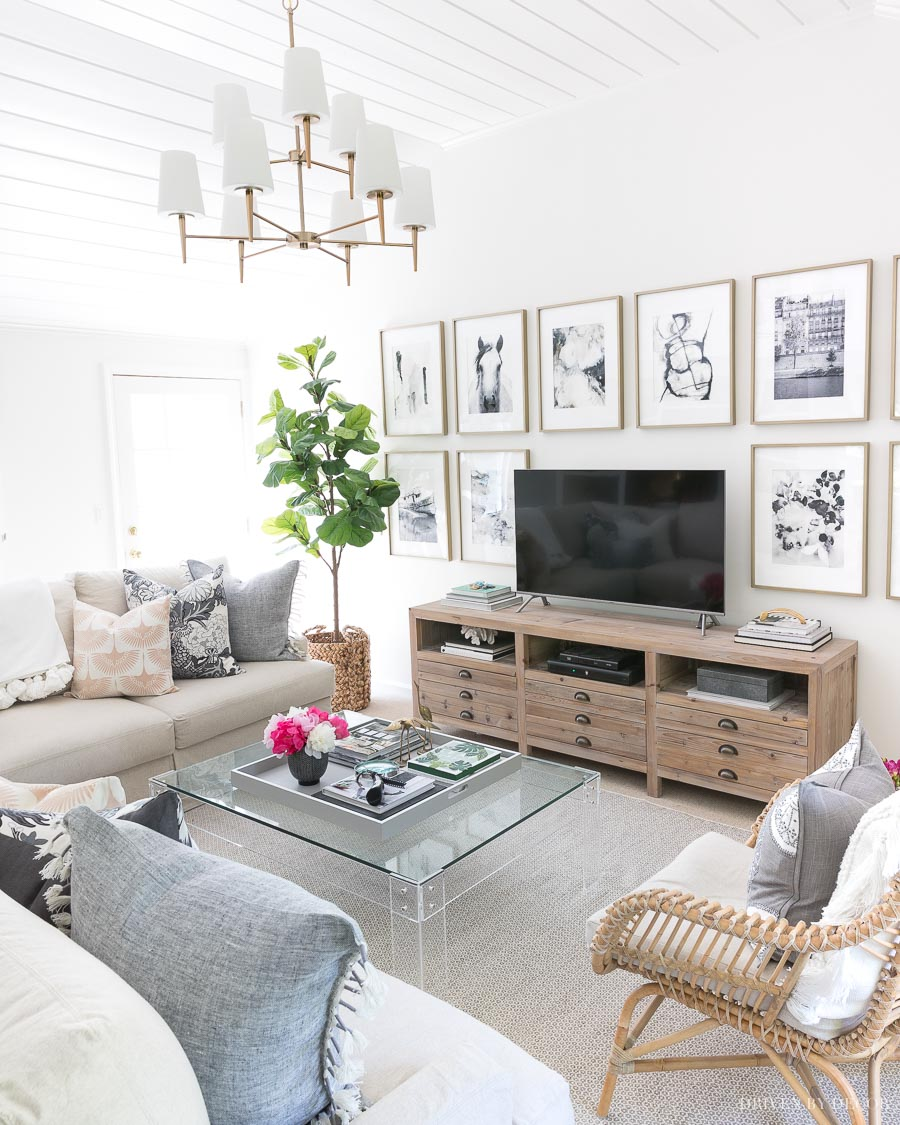 The white paint I used on our family room walls is one of my favorite whites! Benjamin Moore Cloud White