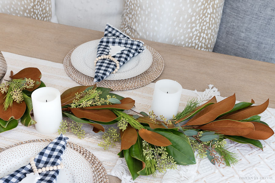 How to make a fresh greenery table runner: layering in eucalyptus and greenery