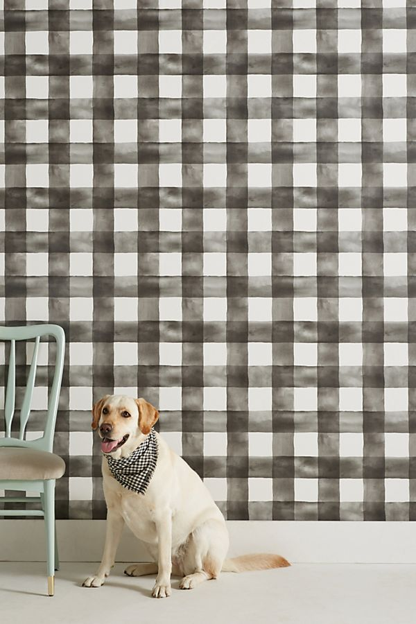 Loving this black and white buffalo check wallpaper and that bold wallpapers are trending in 2019!