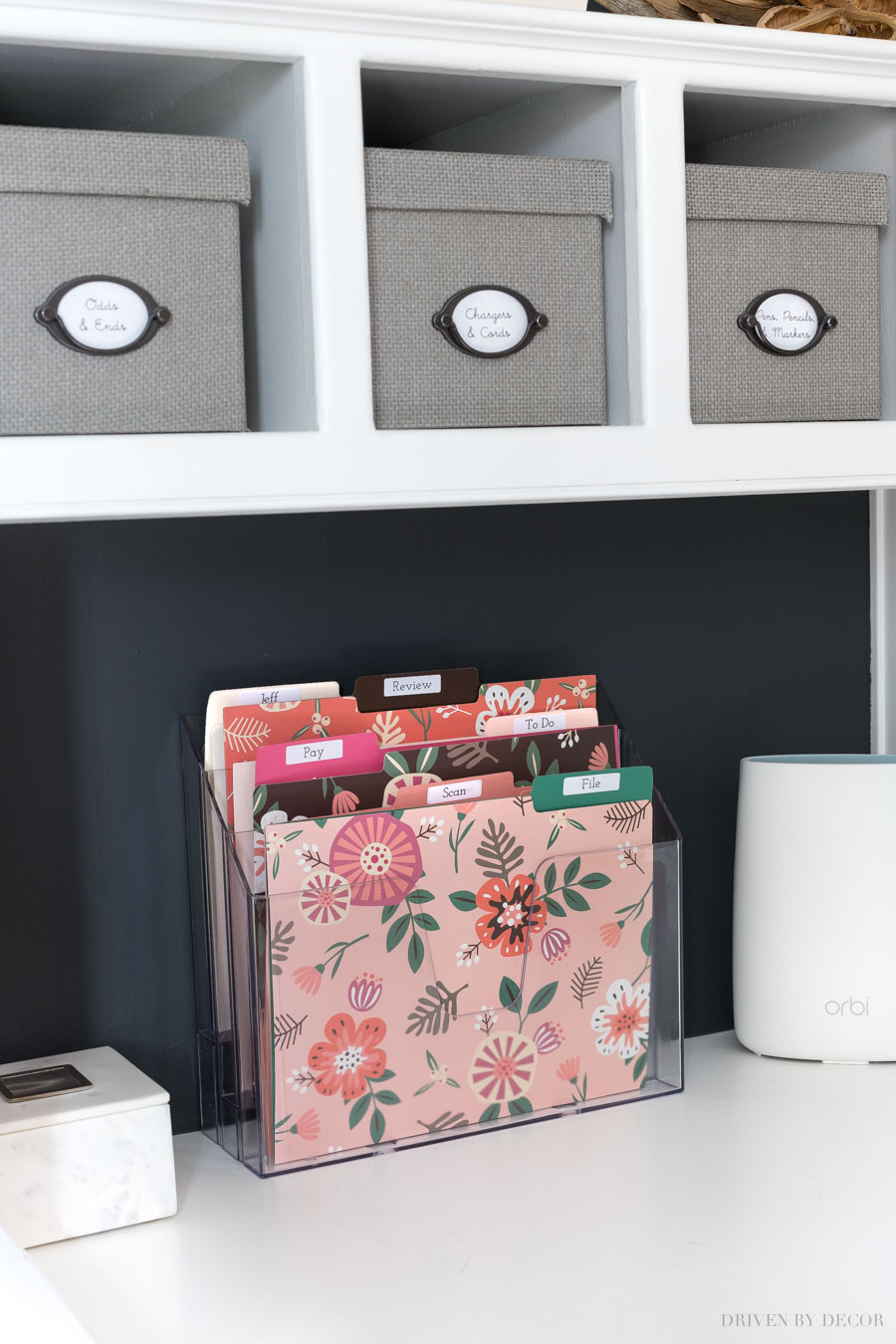 A simple desktop mail organizer with labeled files - so smart as part of a home mail organizing station!