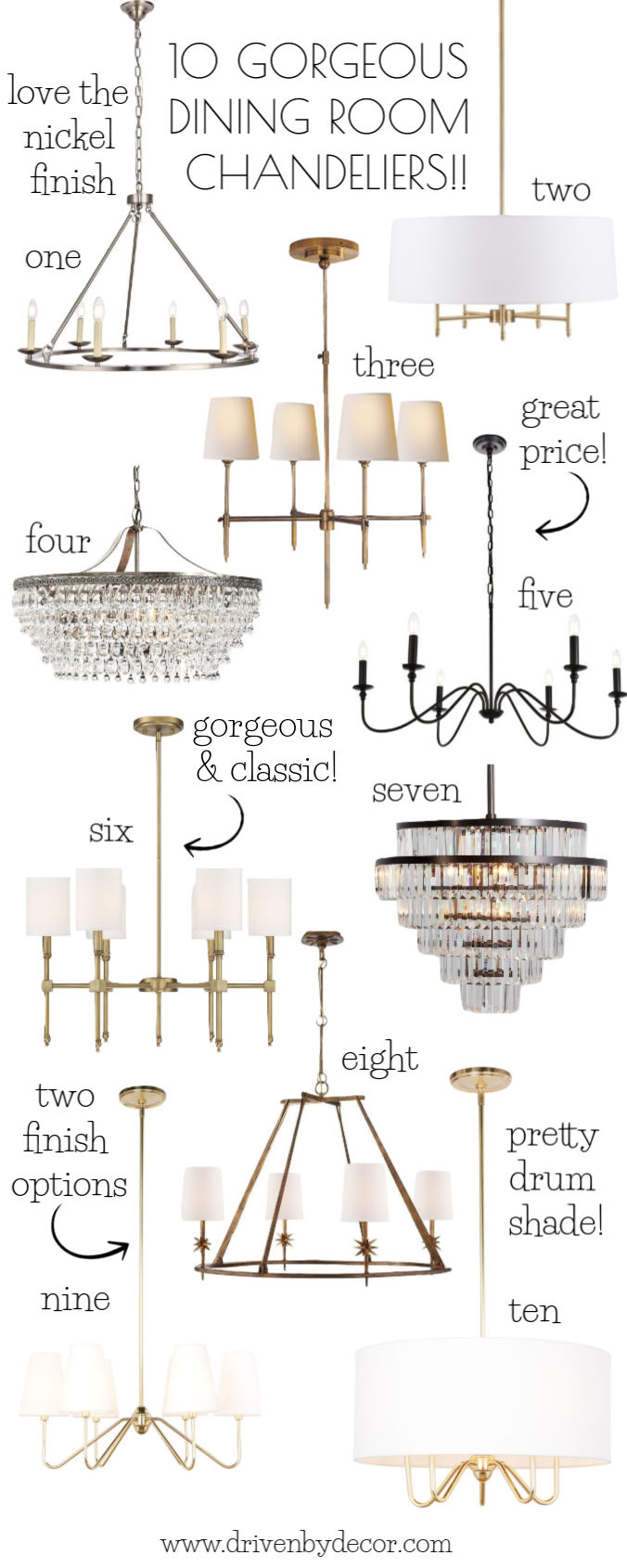 Such gorgeous dining room chandeliers! Links and sources for all ten are in the post!
