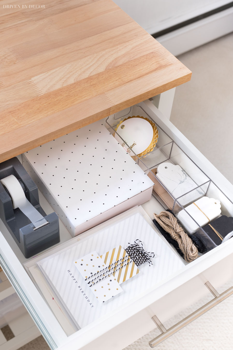 Such a clever and useful gift wrapping station! Love that it has drawers for tape, cards, and tags!