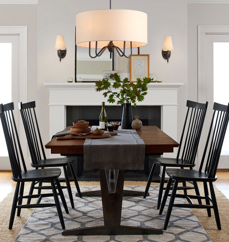 Gorgeous drum shade chandelier for a dining room! This chandy and other favorites are linked in the post!
