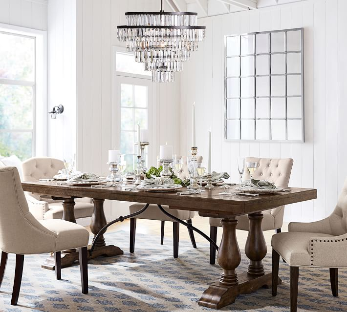 Gorgeous crystal round dining room chandelier! Love the other crystal chandy in this post too!