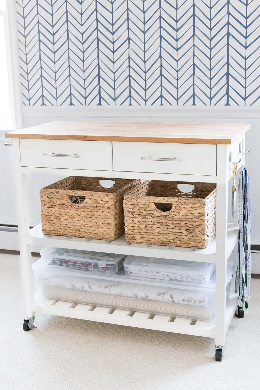 Love how she turned this kitchen cart into a DIY gift wrapping station! There's a place for everything!