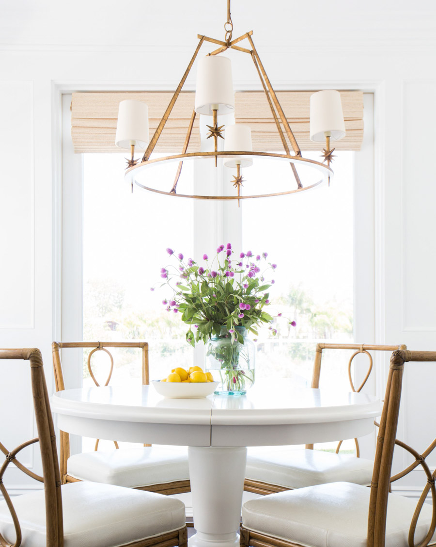 Gorgeous gold dining room chandelier at a size that's perfect for most tables!
