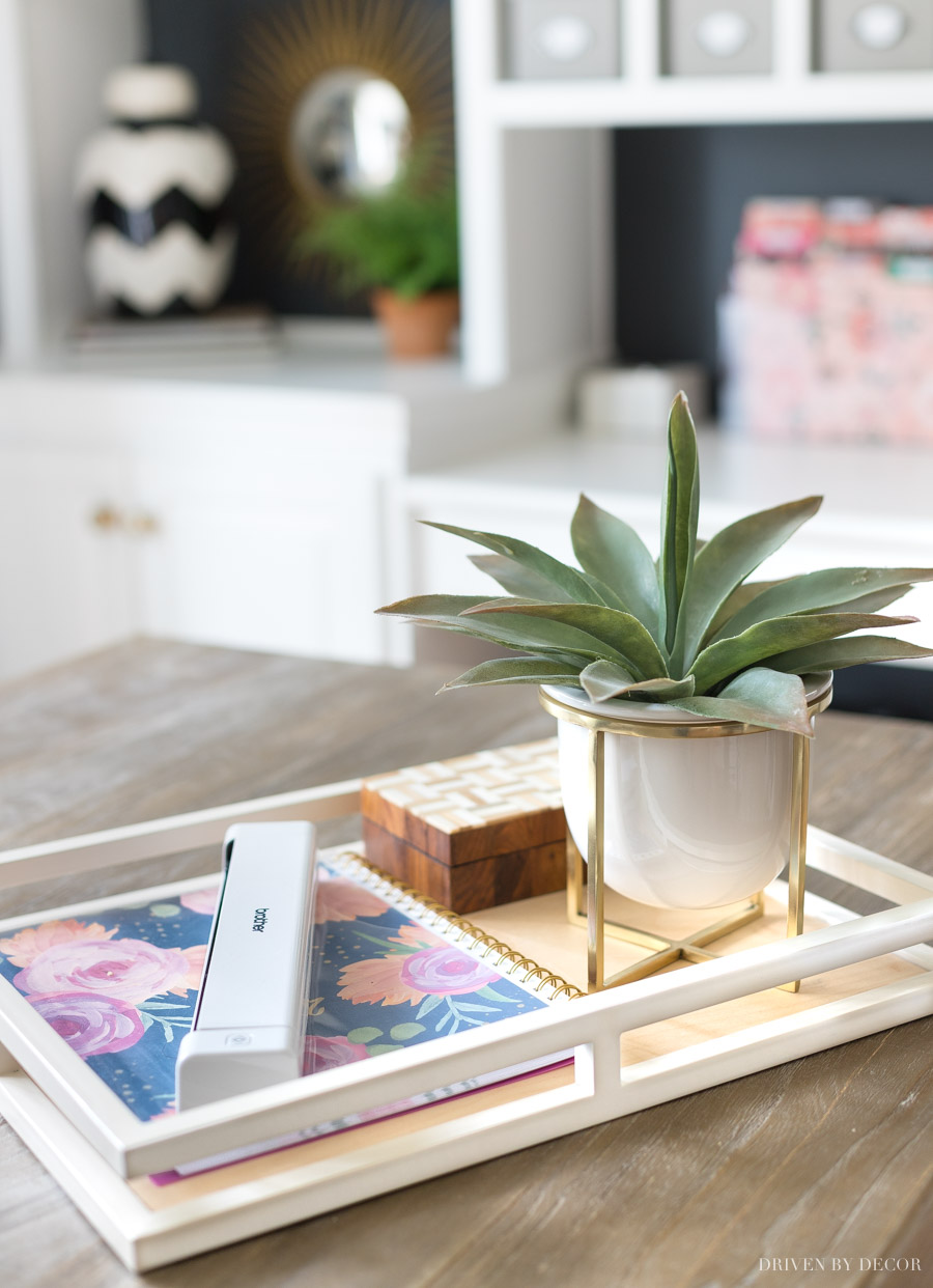 Love this tray to corral office accessories (and the planter is super cute too!)