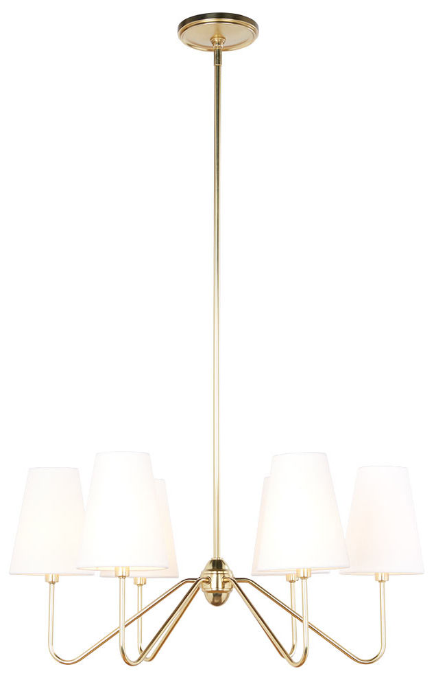 Gorgeous, simple brass chandelier with shades - love!