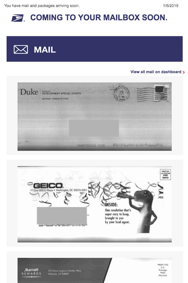 An example of USPS' Informed Delivery emails