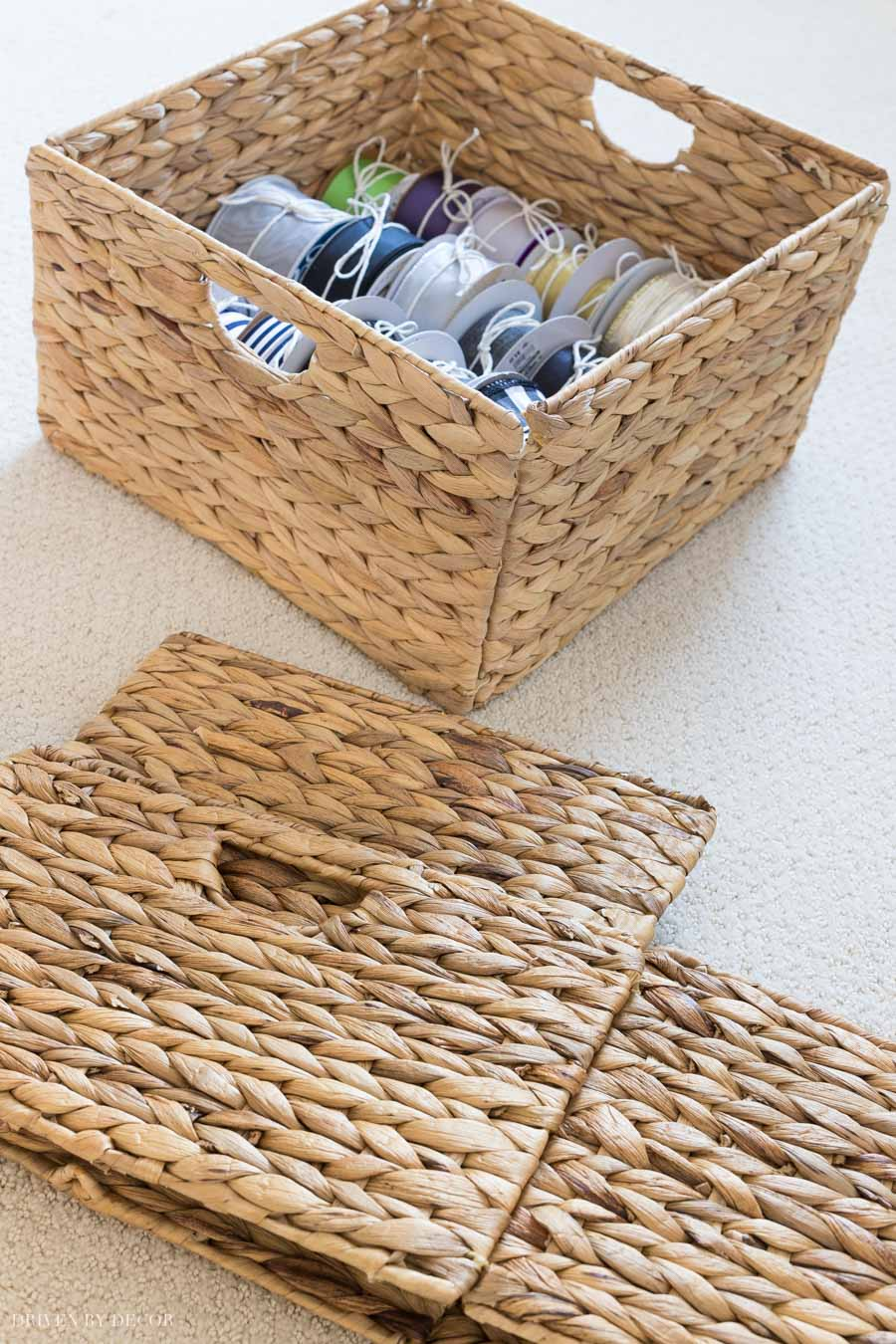 Woven baskets that fold for easy storage - so smart!
