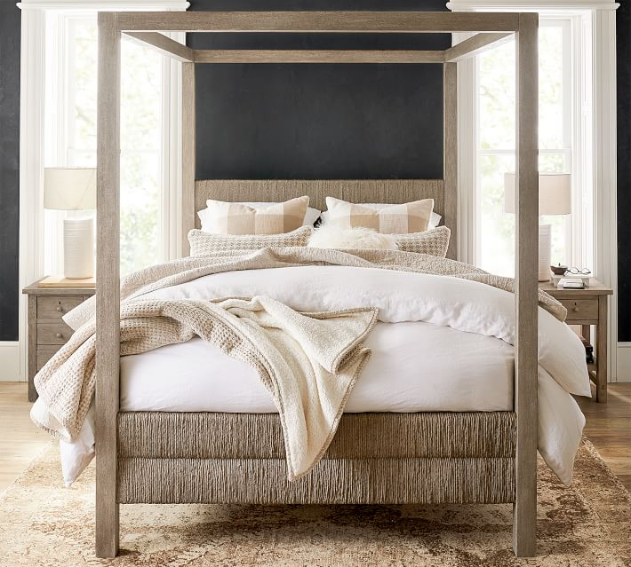 Gorgeous woven wood canopy bed - one of the 2019 design trends I love!