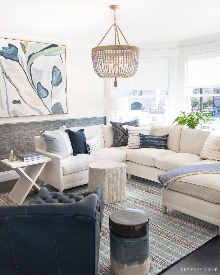 This blue and white living room is beyond gorgeous!! All furniture pieces and decor linked in the post!