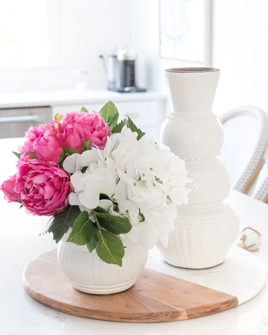Faux peonies and hydrangeas - love these for spring!