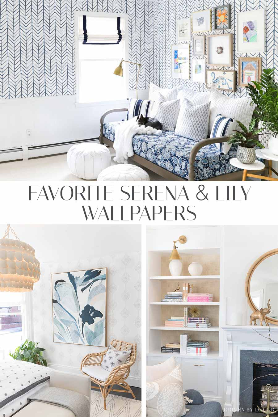So helpful to see all of these gorgeous wallpaper options in real rooms! Love Serena and Lily wallpaper!!