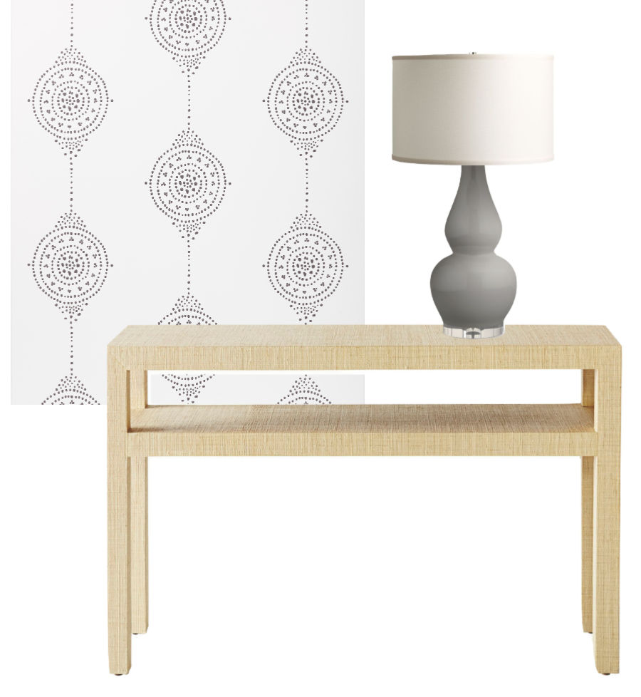 Plans for our foyer makeover - new console, lamp, and wallpaper!