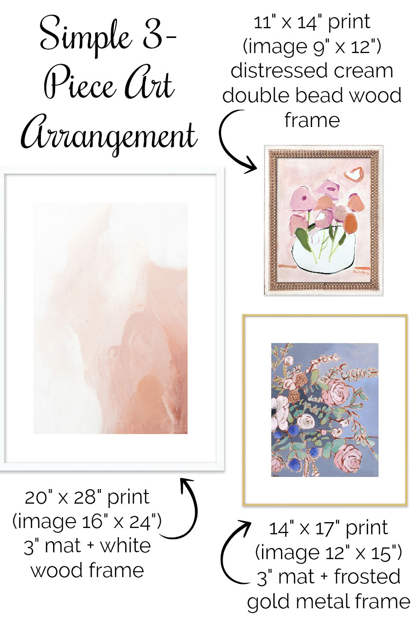Love this simple 3-piece gallery wall layout (all art prints are linked in the post!)