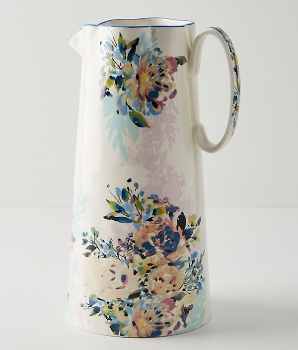 Gorgeous spring floral pitcher that would be beautiful as a vase too!