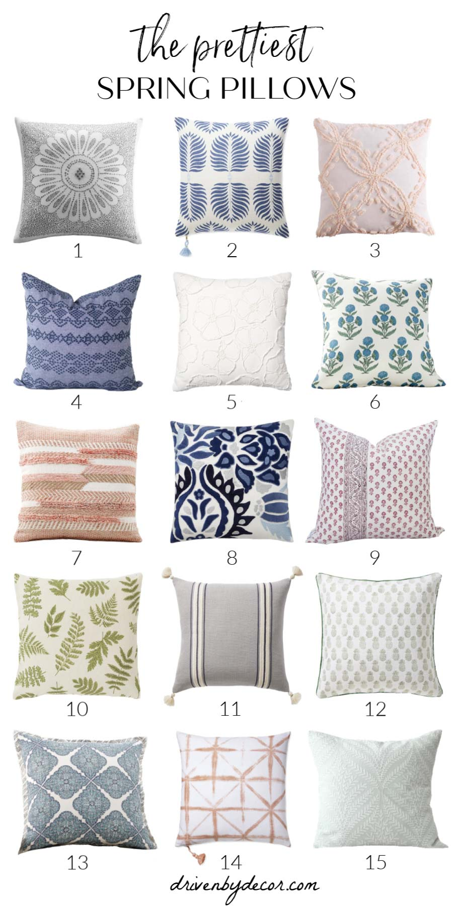 The prettiest spring pillows & pillow covers! Sources to each are included in post!