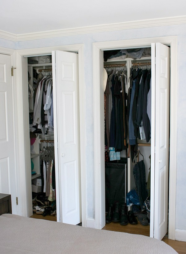 The Before Of Our Closet With Twin Bifold Doors