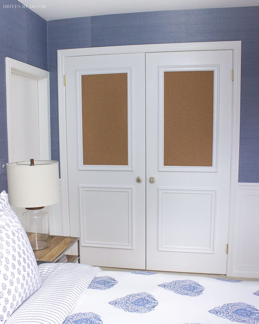 Such a fun idea for closet doors of adding molding and cork boards!