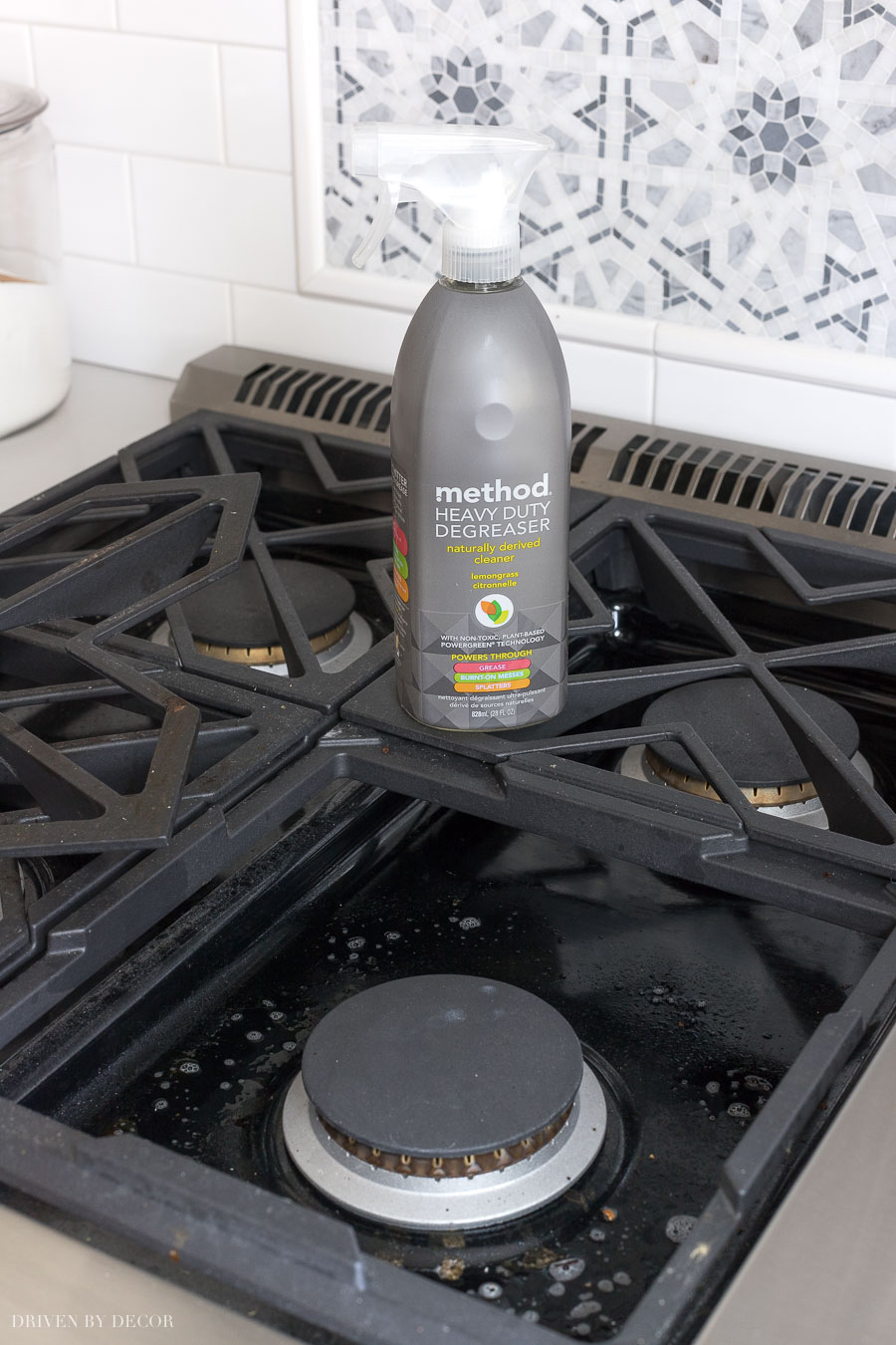 My favorite way to easily clean my gas range! This degreaser is awesome!