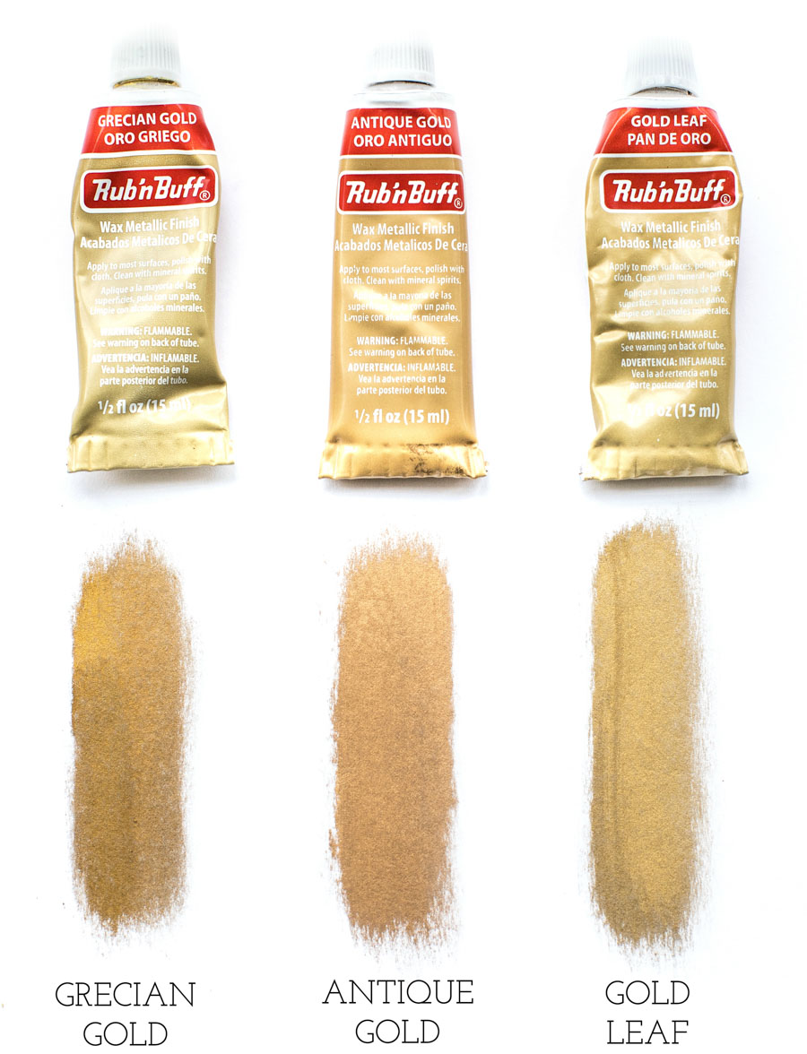Grecian Gold vs. Antique Gold vs. Gold Leaf Rub 'n Buff