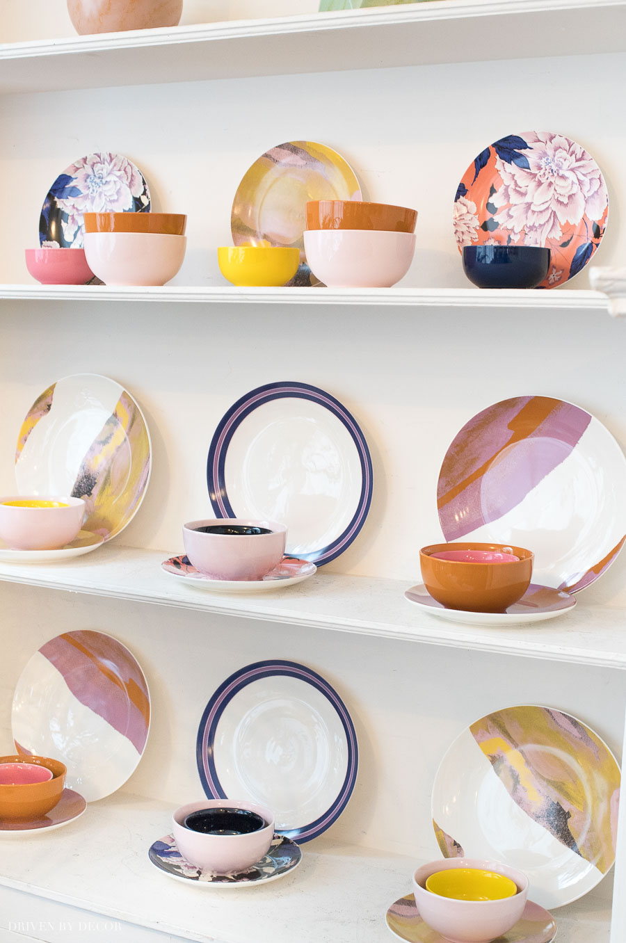 Love the combination of stripes, patterns, and solids in Drew Barrymore's Flower Home dinnerware
