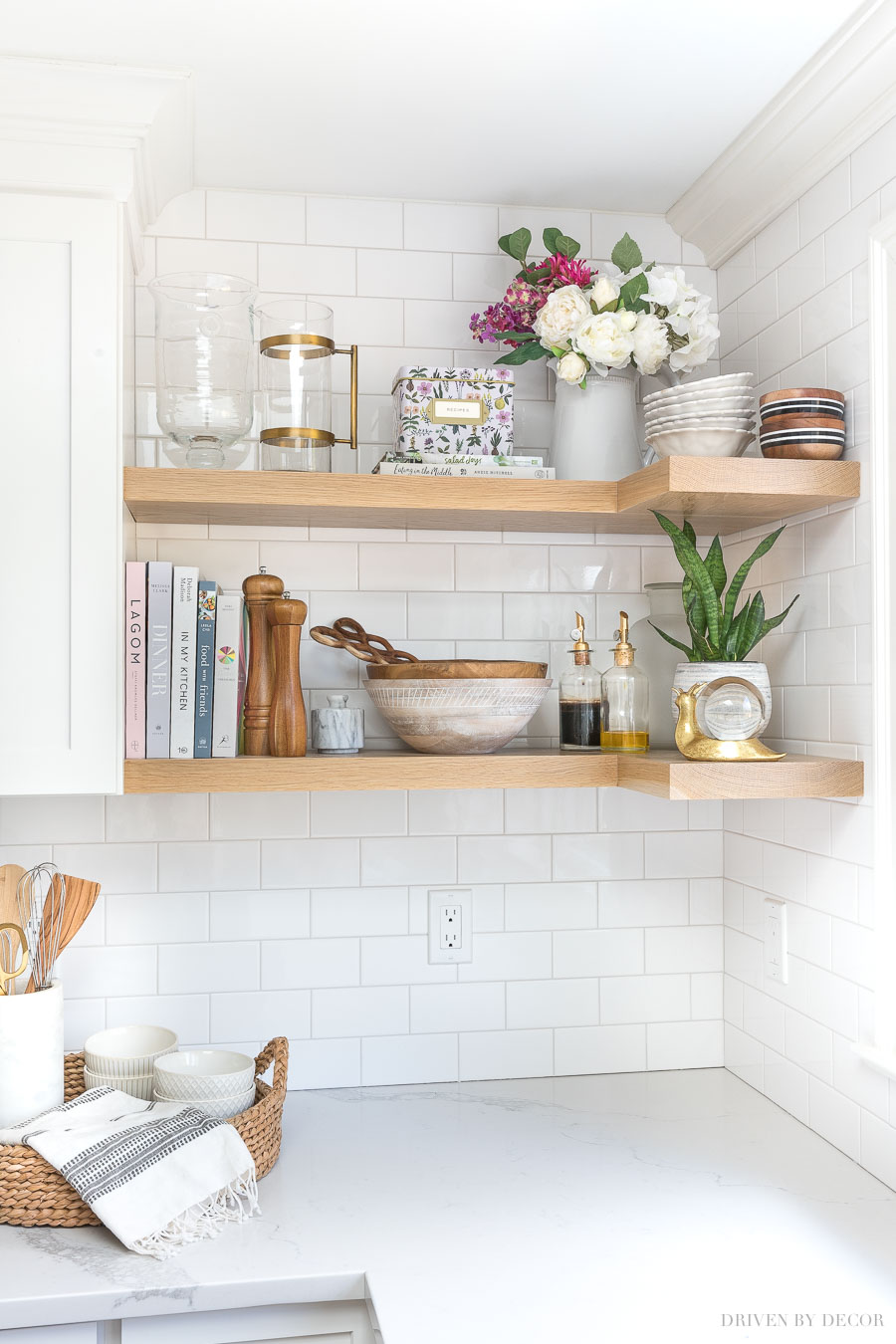 The floating wood shelves in our kitchen - love the warmth they add to this space!