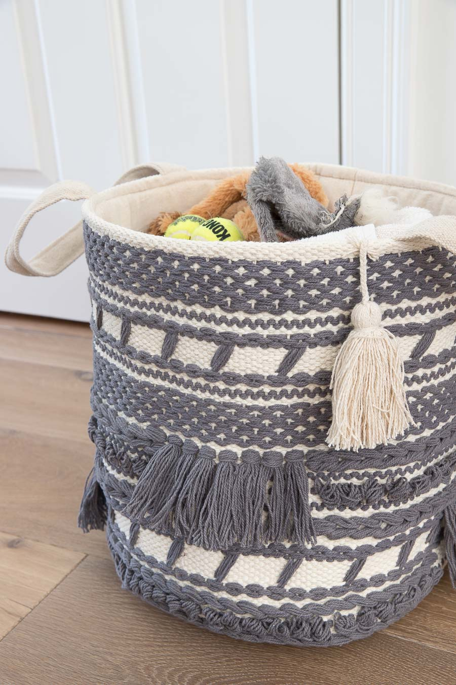 This macrame basket is perfect for kid or dog toys!