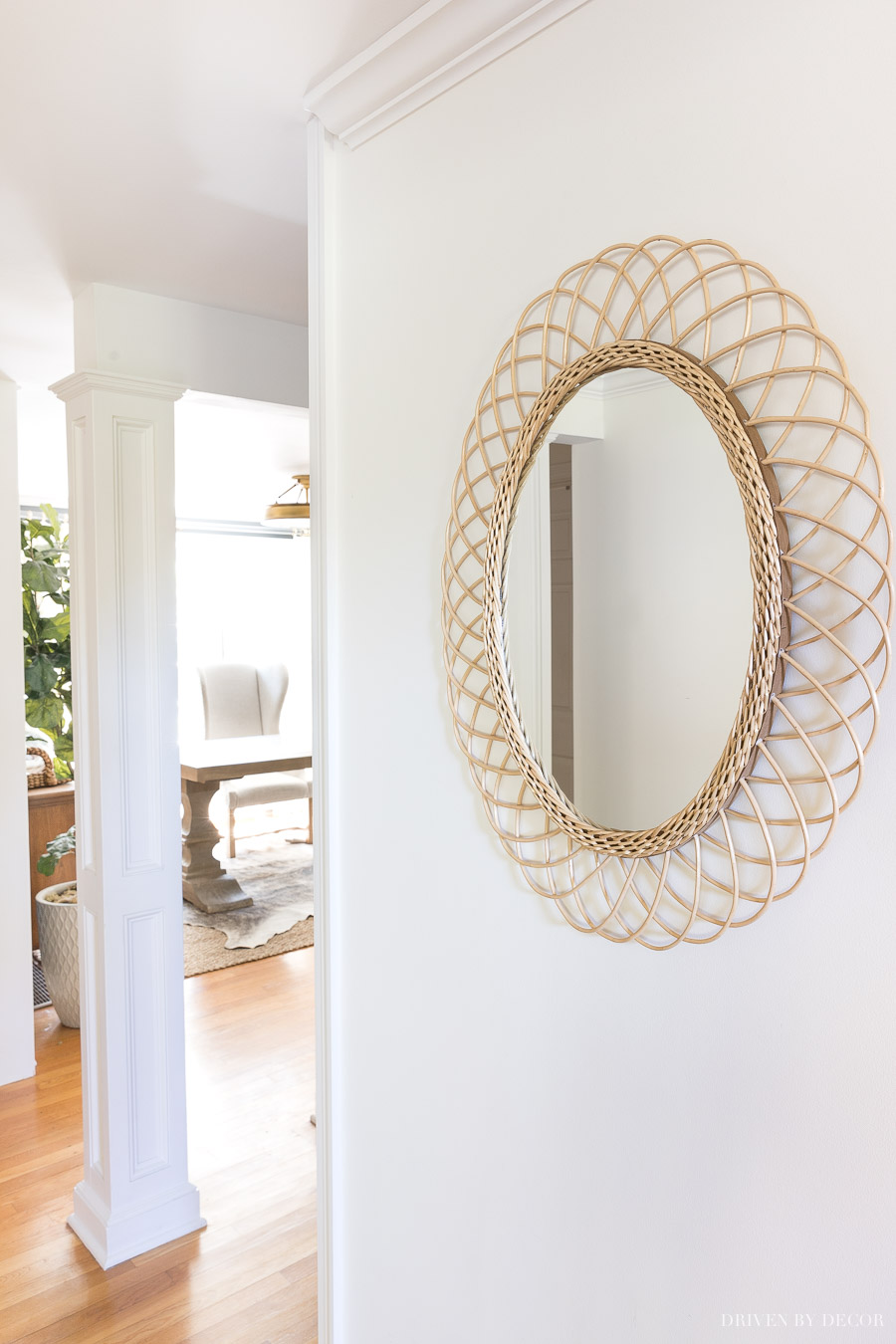 This oval rattan mirror from Drew Barrymore's Flower Home collection is a beauty! And so reasonably priced!