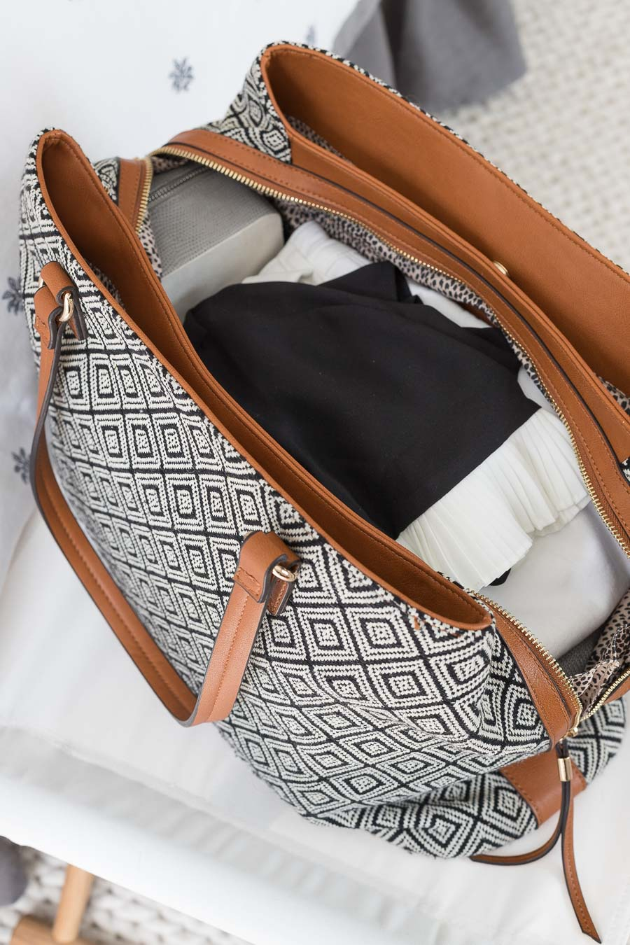 This weekender bag is roomy enough to hold everything you need for a weekend getaway (and it's super stylish too!)