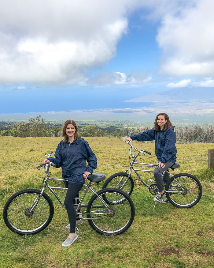 Biking down the volcano in Maui!