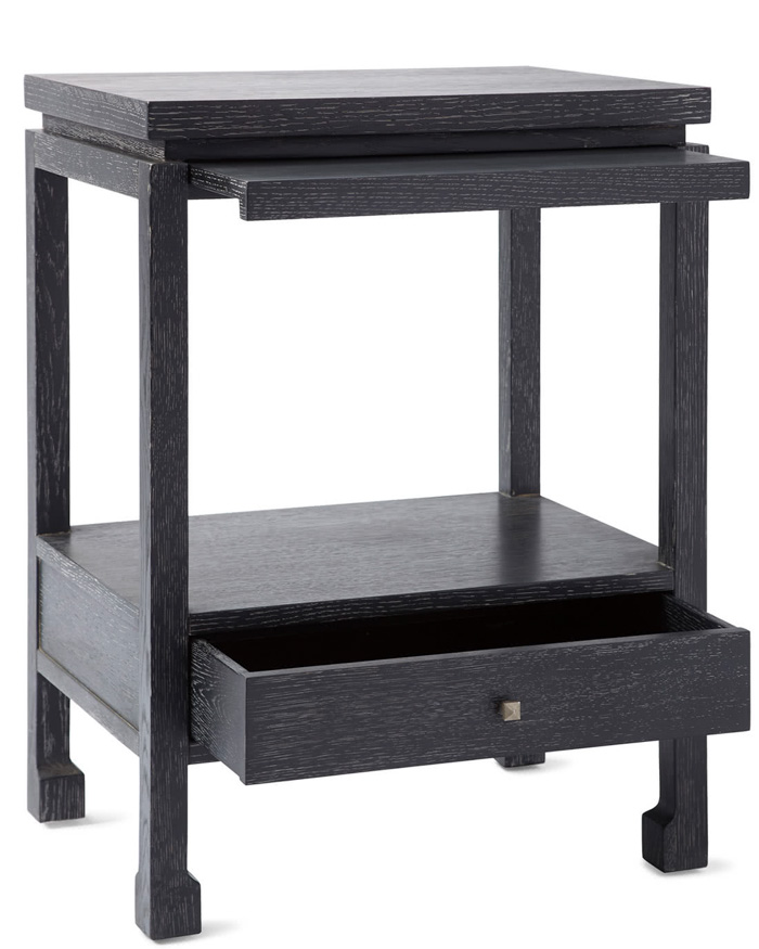 Loving the gorgeous black finish (cerused ebony) on this nightstand! And it's narrow enough for small spaces!
