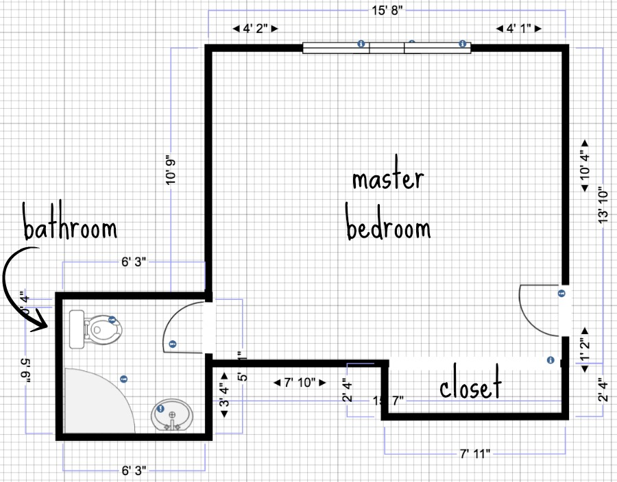 Our current bedroom and bathroom layout