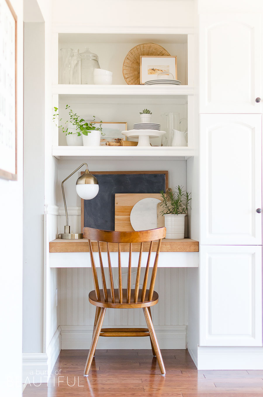 Love this little desk nook in the kitchen of Alicia of A Burst of Beautiful!