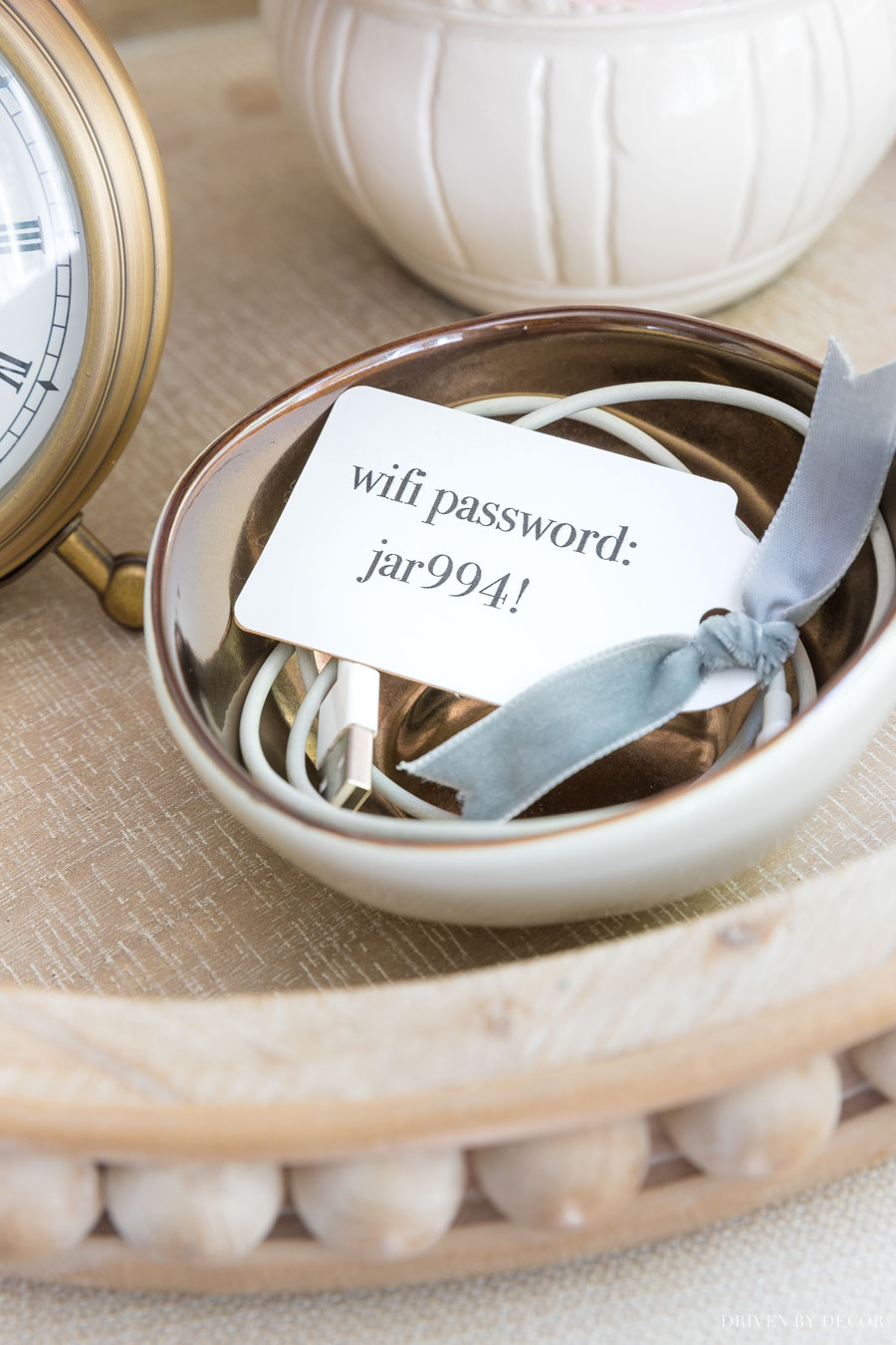 Such a cute and clever way of leaving your wifi password for guests!