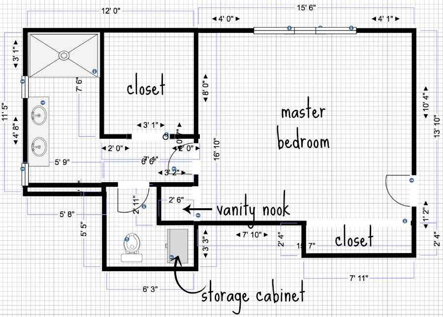 The plans / layout for our master bathroom addition!