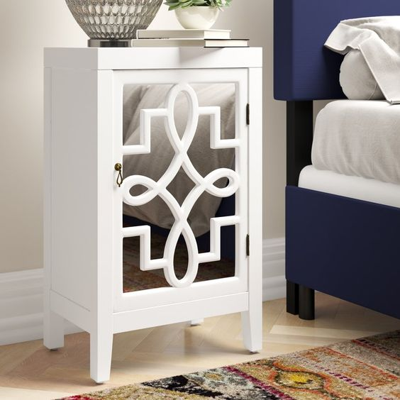 Beautiful mirrored nightstand with great storage space inside! Love that it's narrow so would fit well in a small space!