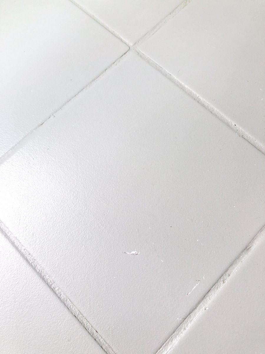 Do painted tile floors scratch? All of the details are in this post!