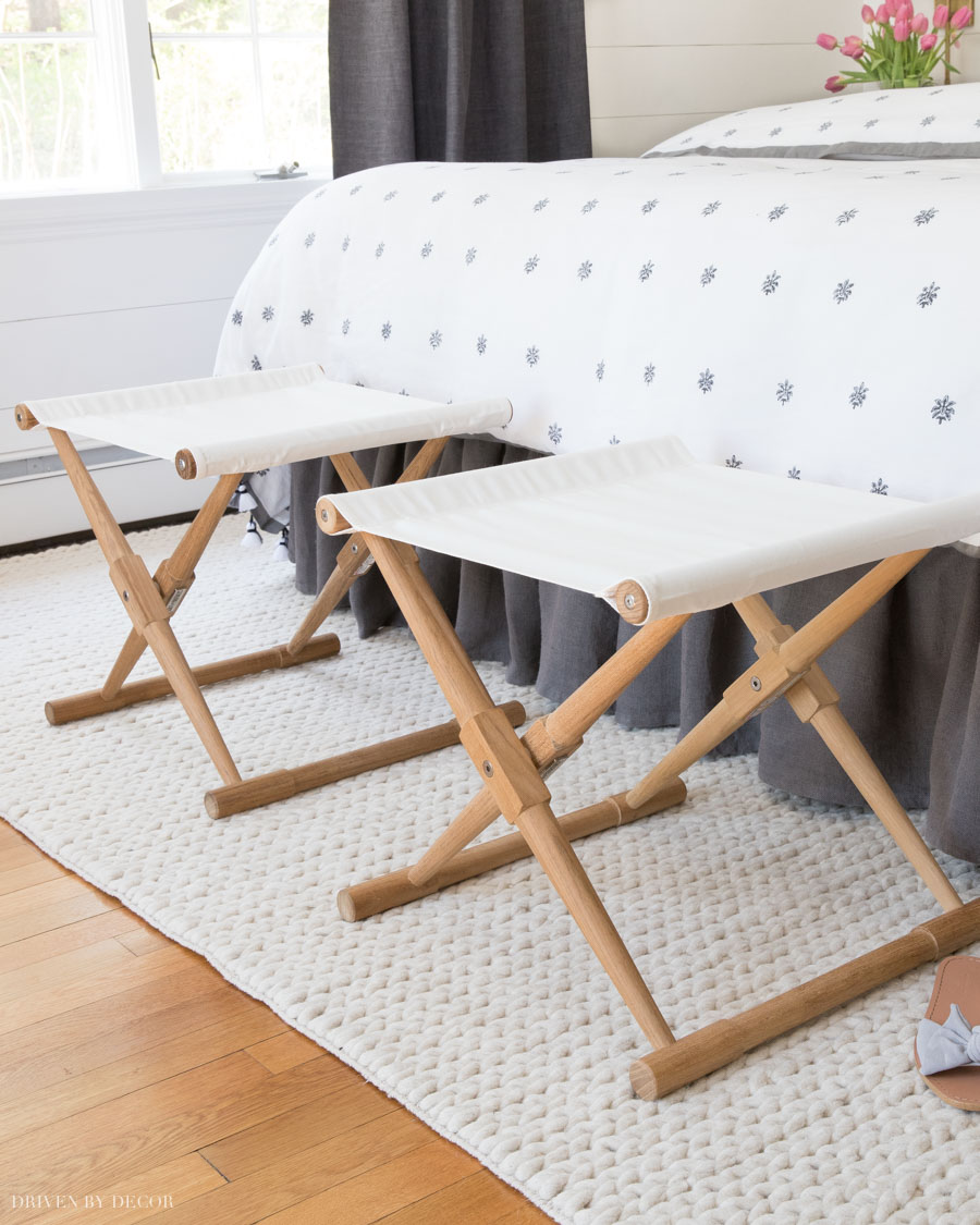 This pair of camp stools is perfect for the end of the bed!