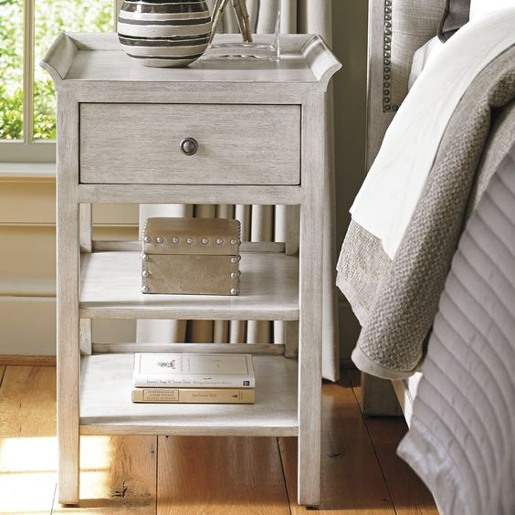 A small space nightstand with a beautiful gray finish and loads of style! Love!