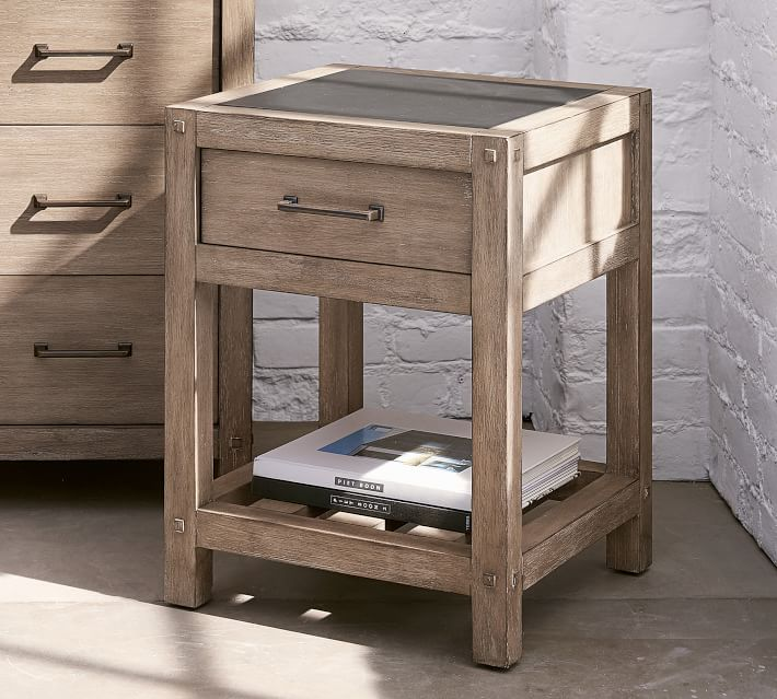 The perfect farmhouse nightstand! Love the wood finish and zinc top and it's narrow so perfect for small spaces!