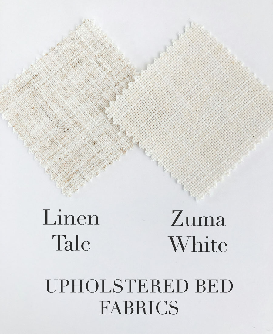 Linen Talc vs Zuma White as upholstered bed fabric options!