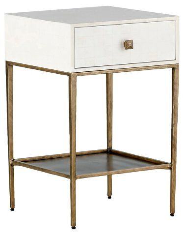 Gorgeous faux bone + brass nightstand that's narrow enough for small spaces!