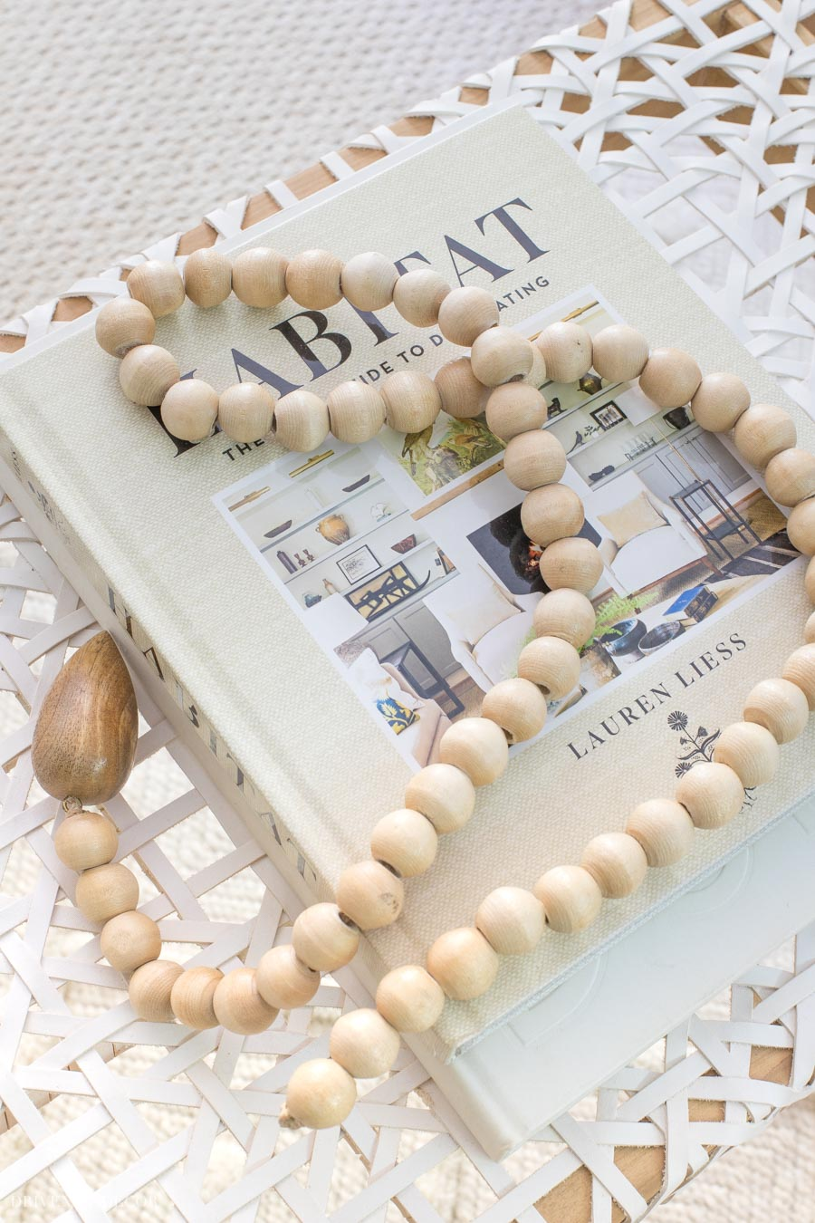 This beautiful strand of wood beads is the perfect coffee table accessory!
