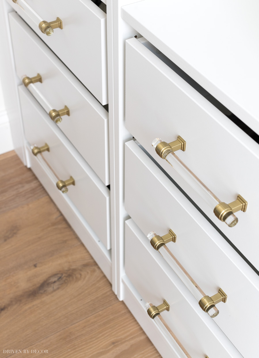 LOVE these acrylic and brass drawer pulls so much!