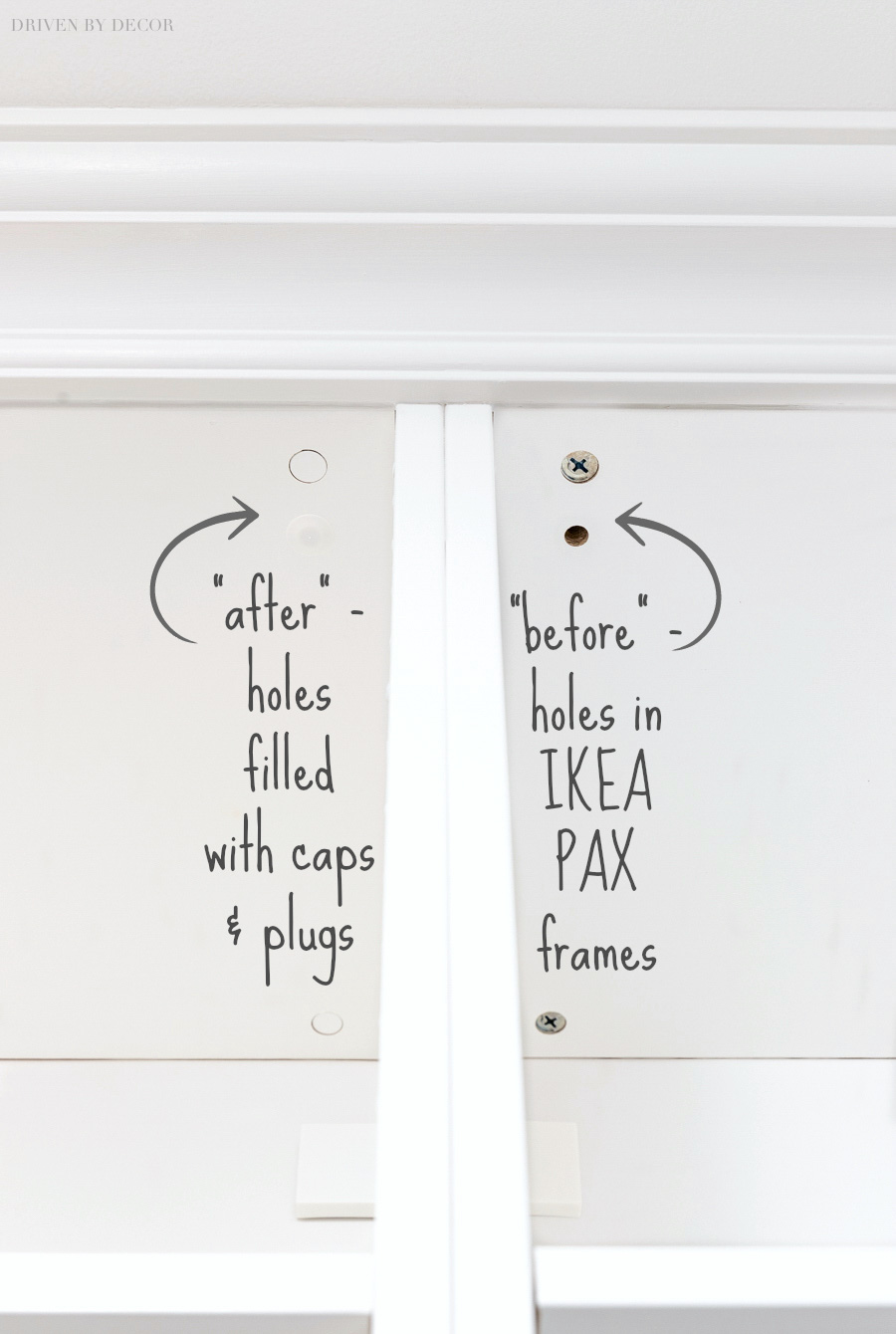 The exact plugs and covers to use to fill holes in IKEA PAX wardrobe frames!