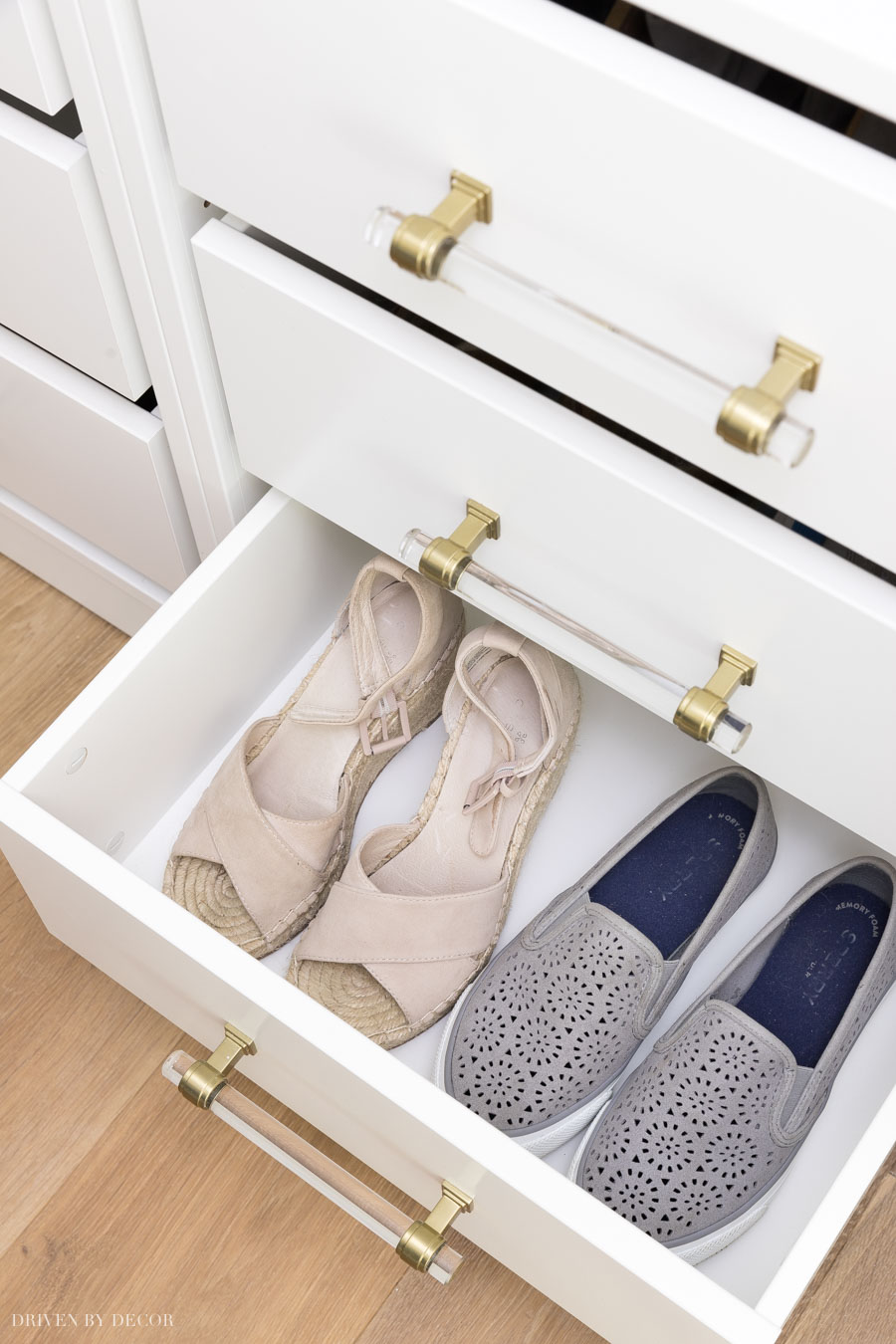 IKEA PAX coat closet with KOMPLEMENT drawers for shoe storage!